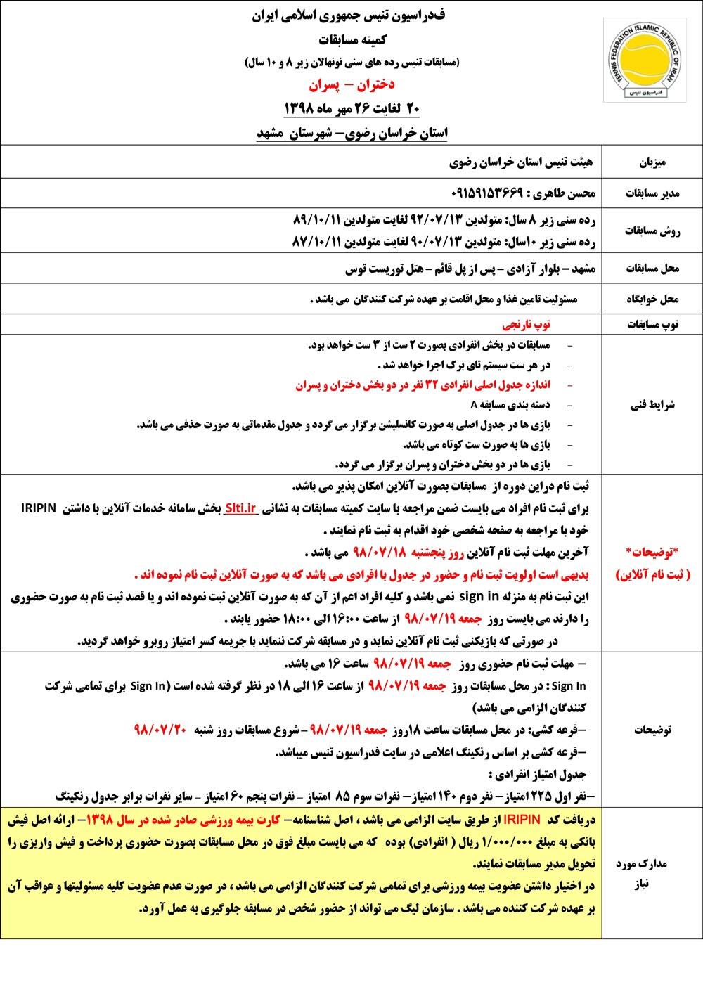 مسابقات تنیس رده های سنی مشهد