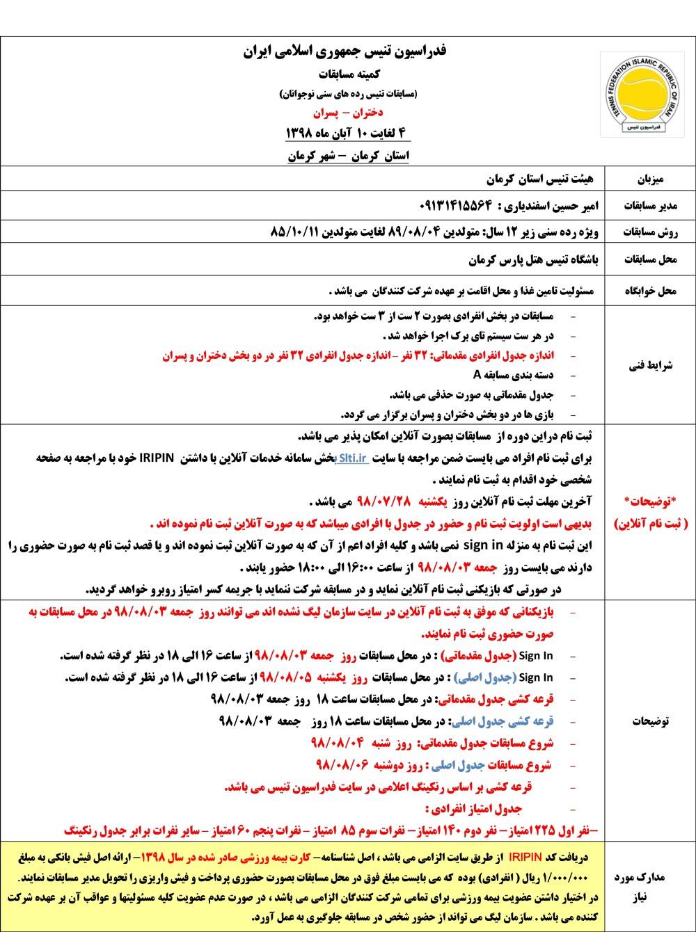 مسابقات تنیس رده های سنی کرمان