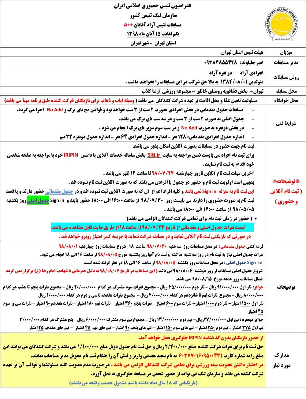 مسابقات تنیس جایزه بزرگ آقایان تهران