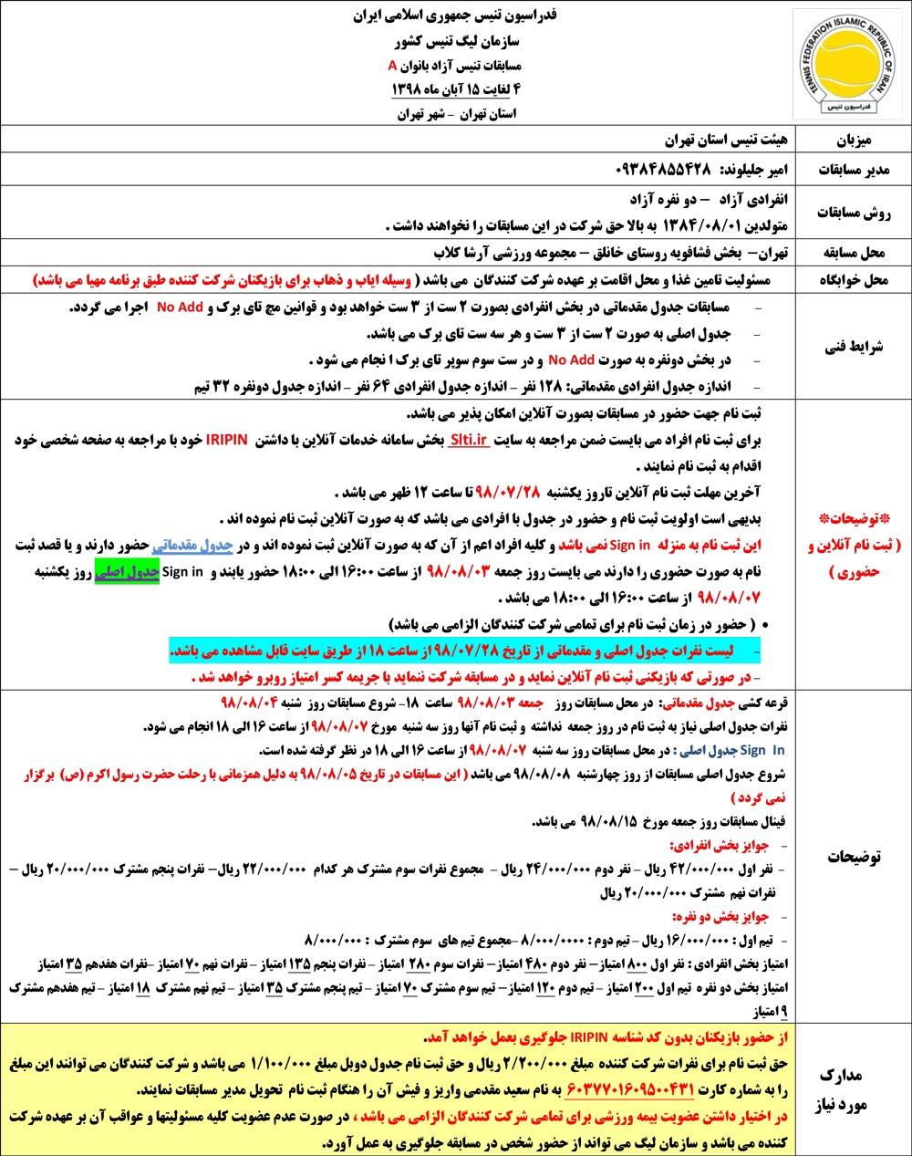 مسابقات تنیس جایزه بزرگ بانوان تهران