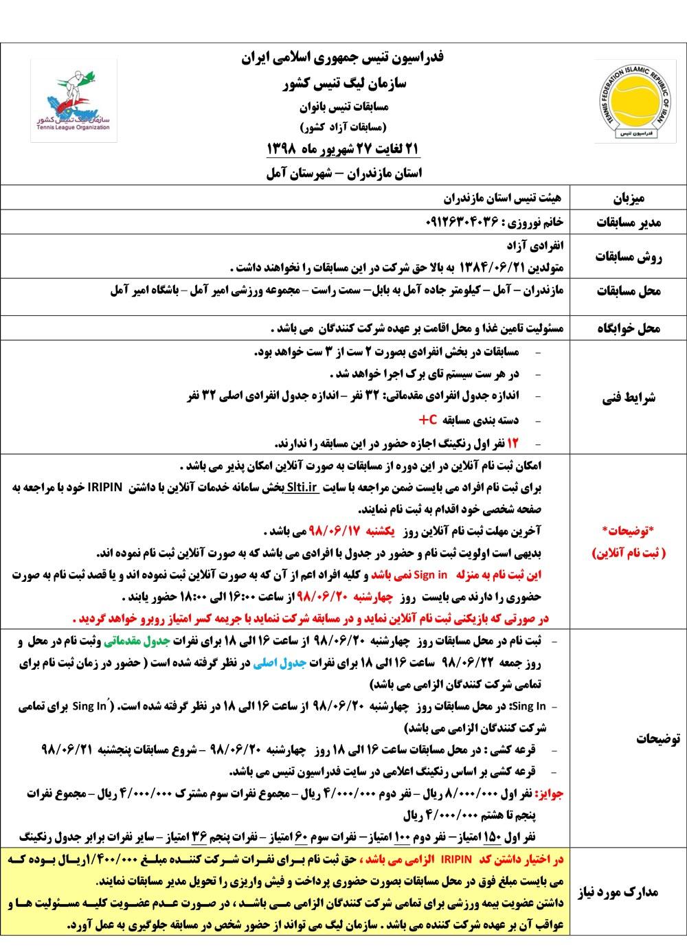 مسابقات تنیس آزاد بانوان مازندران
