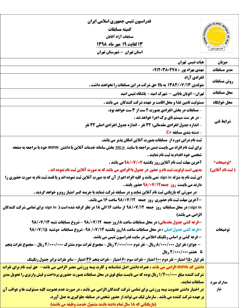 مسابقات تنیس آزاد آقایان تهران